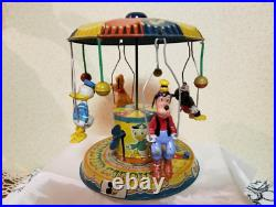 WALT DISNEY PRODUCTIONS Disney Vintage tin toy Mickey Mouse Merry-Go-Round japan