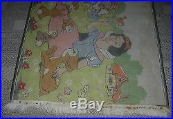 Walt Disney Snow White And The Seven Dwarves Rug C. 1950's Vintage Original