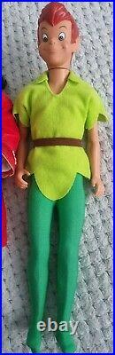 Walt Disney Vintage Peter Pan & Captain Hook Doll Set. Rare. DIscontinued