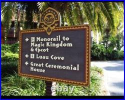 Walt Disney World Polynesian Village Tiki Vintage Sign Prop 100% Authentic RARE