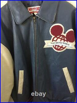 Walt Disney World Reunion 25th Anniversary Genuine Bomber Leather Jacket Vtg EUC