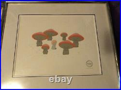 Walt Disneys Fantasia Dancing Mushrooms Serigraph Animation Cel Framed COA Vtg